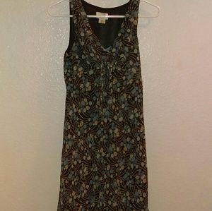 Loft sleeveless brown and blue floral dress
